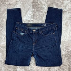 J. Crew Toothpick Skinny Jeans Size 30 Dark Wash